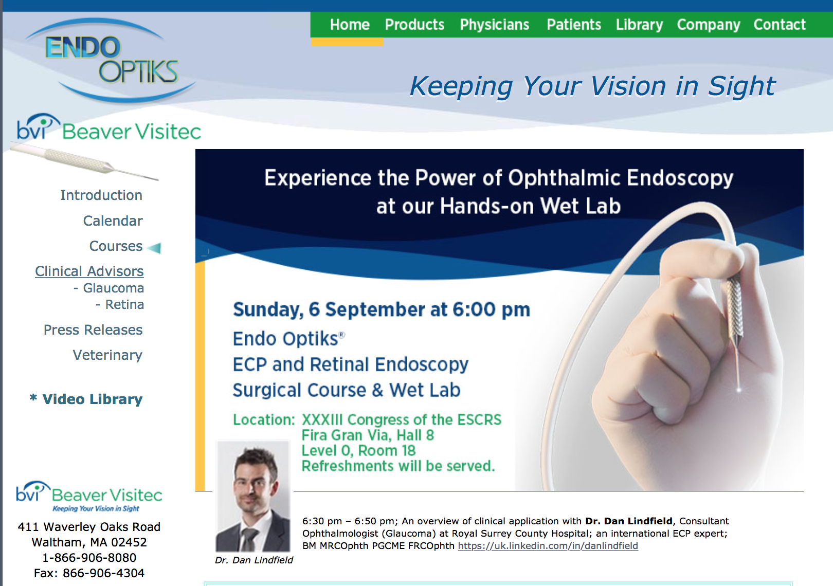 ECP Glaucoma Event in Barcelona - MR DAN LINDFIELD Consultant
