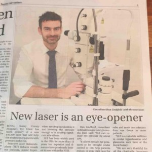 Mr Lindfield and SLT Laser Trabeculoplasty appears in  Surrey Advertiser